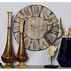 Deco 79 69211 Round Metal Wood Clock, 24-Inch