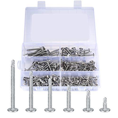 210 Stk Bohrschrauben Selbstschneidend, Edelstahl Schrauben Kit, Selbstbohrende Schraube, Schrauben Bohrschrauben Set - 4,2 mm x 13/19/25/32/38/50 mm