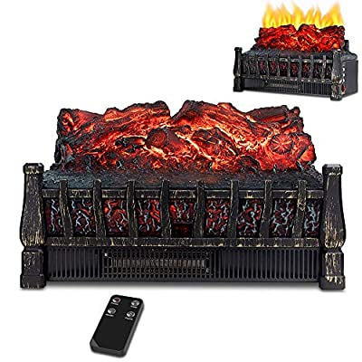 LIFEPLUS Electric Fireplace Log Set Heater with Realistic Flame Effect with Ember Bed Remote Control Overheating Protection for Indoor Use 8H Timer Infrared Heater with Adjustable Brightness Home