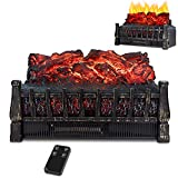 LIFEPLUS Electric Fireplace log set Heater 1500W with Realstic Flame Effect with Ember Bed Remote Control,Overheating Protection for Indoor Use 8H Timer Infrared Space Heater with Adjustable Brightness Vintage Designfor Home Black