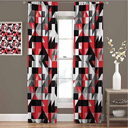 Toopeek - Cortinas opacas de calidad superior, diseño geométrico, diseño de laberinto inspirado en el laberinto, color rojo y negro