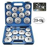 Generic 23 tapas de filtro de aceite de aluminio, herramientas para cambio de aceite, llave de filtro de aceite, 21 tapas de filtro de aceite, 1 llave de anillo, 1 carraca de conmutación