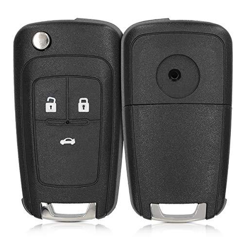 kwmobile Autoschlüssel Gehäuse kompatibel mit Opel 3-Tasten Klapp Autoschlüssel - ohne Transponder Batterien Elektronik - Auto Schlüsselgehäuse - Schwarz