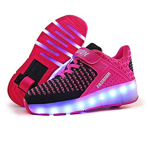 XJBHD Led Luces Zapatos con Ruedas Single Doble Ronda para Pequeños Niños y Niña Automática Calzado de Skateboarding Deportes de Exterior Patines en Línea