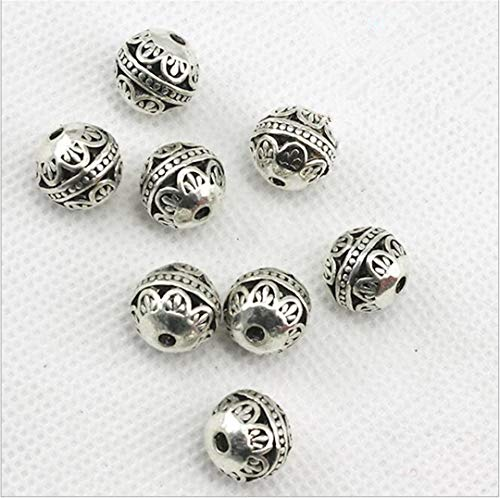 EKimmer 10Pcs Hole 2Mm,Tibetan Silver Spacer Beads For Jewelry Making DIY Handmade Charm Beads Bracelet Necklace 04