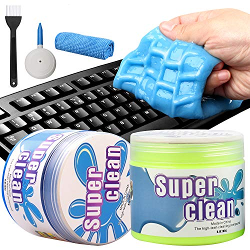 Camelize Tastatur Reinigungsgel,2 Stück Super Clean Gel,Keyboard Cleaner,Universal Cleaning Gel für PC Tablet Laptop Tastaturen, Auto Entlüftungsöffnungen, Kameras, Drucker, Taschenrechner.