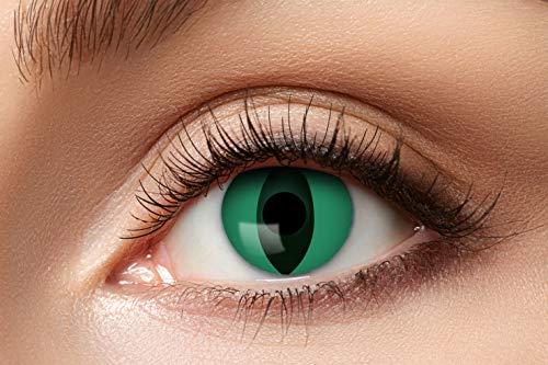 Zoelibat Farbige Kontaktlinsen für 12 Monate, Anaconda, 2 Stück, BC 8.6 mm / DIA 14.5 mm, Jahreslinsen in Markenqualität für Halloween, Fasching, Karneval, grün