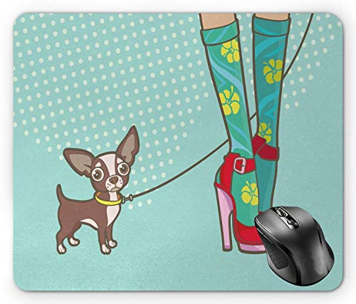 High Heels Mouse Pad, Beine mit lustigen Socken und High Heels und Sweet Little Dog Doodle Girlish Print Multicolor Mouse Pad