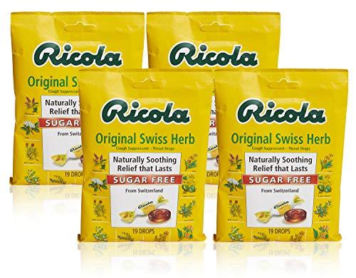 Ricola Sugar Free Swiss Herb Herbal Cough Suppressant Throat Drops, 19ct Bag (Pack of 4)