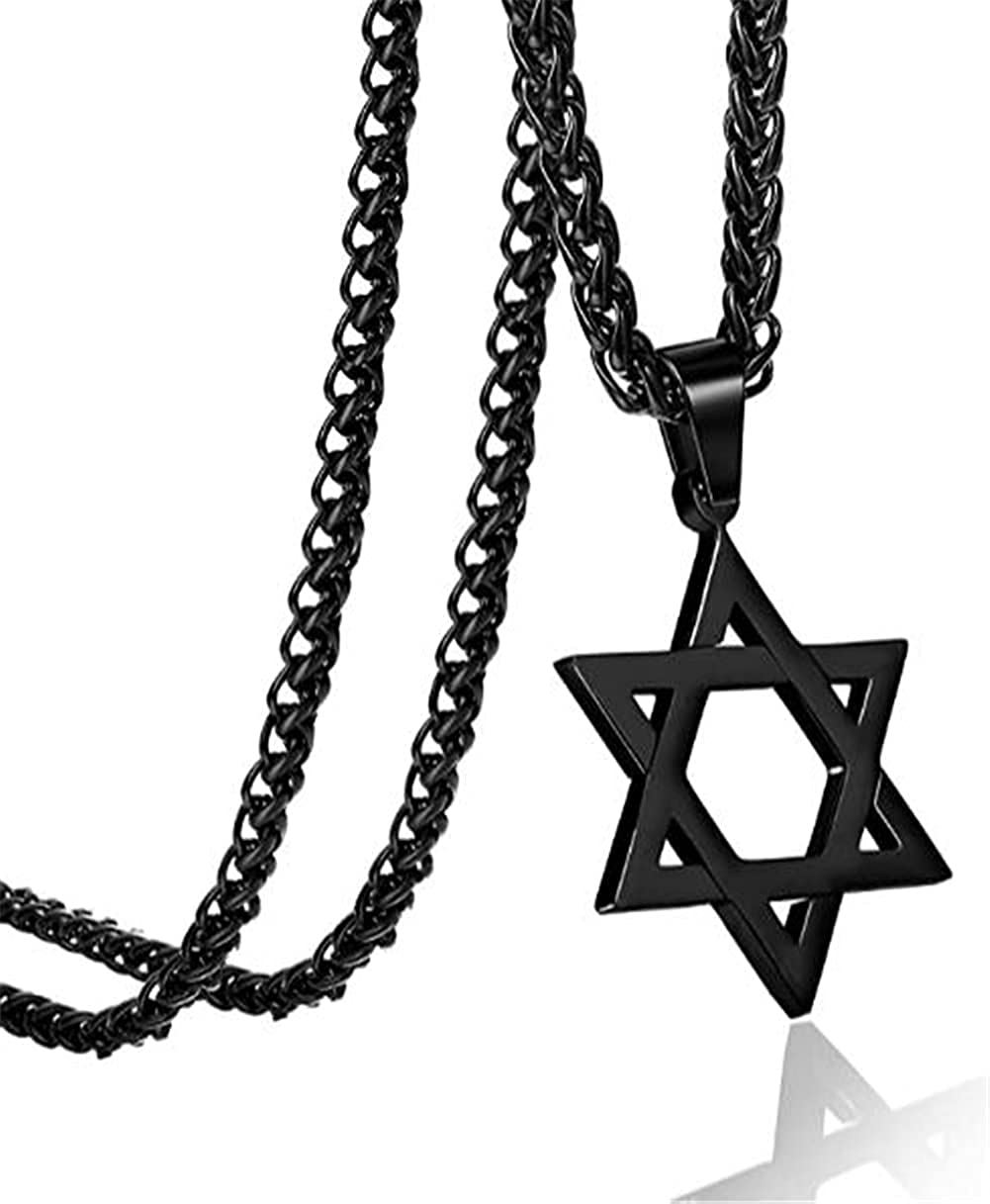 JTTBIGV Star of David Pendant Necklace Stainless Steel Jewish Jewelry for Men Women Religious with 22