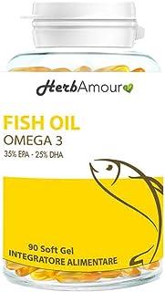 HerbAmour OMEGA 3 | 90 Perlas Softgel Aceite De Pescado | Certificado Ifos 5 Estrellas | Suplemento Omega 3 En Capsulas Con Dosis Altas De Epa Y Dha | Pastillas De Aceite De Pescado Esencial
