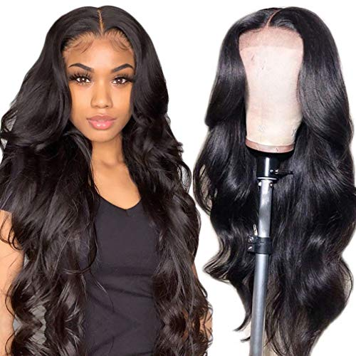 IUPin Body Wave Lace Front Wigs Human Hair Pre Plucked with Baby Hair Real Human Hair Wigs 4x4 Lace Closure Wigs Human Hair Wigs for Black Women (18 Inch, Body Wave Wig) 150% Density Natural Color