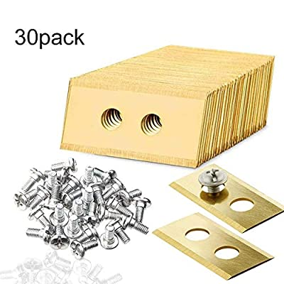 jesticam 30pcs Replacement Robotic Mower Titanium Blades for Worx Landroid Robotic Lawnmowers, 2 Hole, with 60 Screws