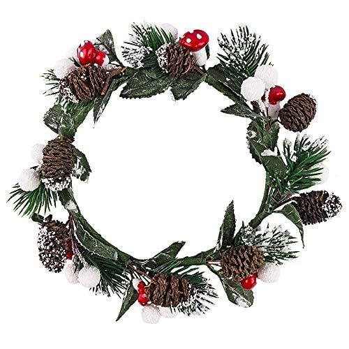 Corona decorativa para Navidad e invierno (con abeto, setas, hojas y piñas – 16 cm de diámetro)