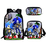 Sonic The Hedgehog Mochila Impresa, Sonic Bookbags Set Mochilas Escolares de Lona de Gran Capacidad...
