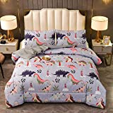 Btargot Kids All Season Grey Dinosaur Printed Bedding Comforter Sets with 2 Pillowcases Twin Size 3 Pieces for Boys Girls Teens Adults