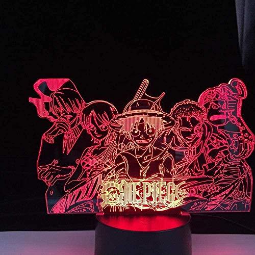 Luz nocturna LED 3D ilusión de Luffy Sanji Zoro Nami, táctil, lámpara de mesa de acción óptica para niños, cumpleaños, vacaciones, regalo