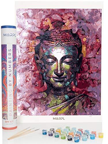 MARPL Malen nach Zahlen Erwachsene - Verschiedene Motive - DIY Painting by Numbers mit Geschenkbox, Leinwand, Pinsel und Acrylfarben - ohne Rahmen (Buddha)