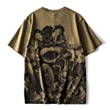 Chinese Style Retro Washing and Old Lion Dance Pattern Embroidery Short-Sleeved T-Shirt Male with Large Size Loose