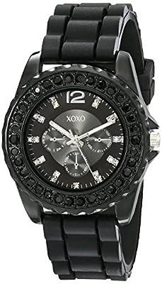 XOXO Women's XO8041 Rhinestone Accent Black Silicone Strap Watch