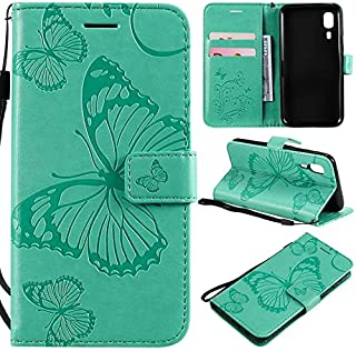 MUJUN 2019 Fashion All-inclusive Protective Case Compatible with Samsung Galaxy A2 Core, Butterfly Flowers Embossing PU le...