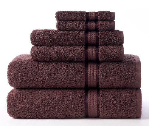 COTTON CRAFT Ultra Soft Luxury 6 Piece Ringspun Cotton Towel Set, 580GSM, Heavyweight, 2 Bath Towels, 2 Hand Towels, 2 Washcloths, Chocolate Brown
