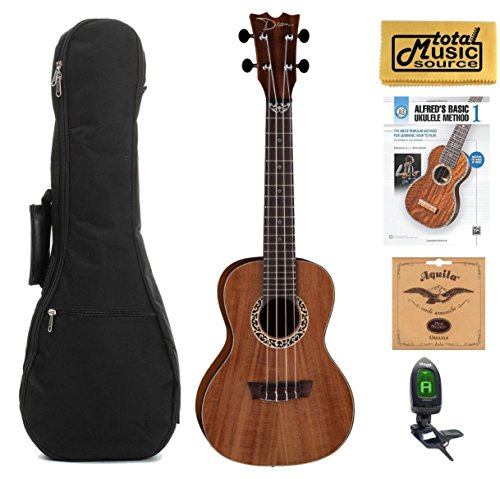 Dean Concert Ukulele, Koa Wood, Satin Natural, W/Padded Gigbag,Tuner,Strings,Book & PC