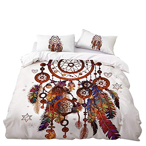 Fansu Duvet Cover Set with Fitted Sheet & Pillow Cases, Double Super King Bed 4 Pieces Single Bed 3 Pieces Microfiber Dreamcatcher Printing Bedding Sets (Ethnic style,Single-135x200cm)