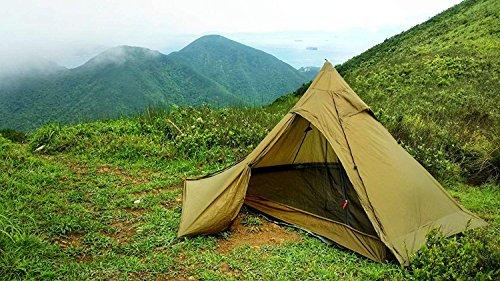 OneTigris Ultraleicht Pyramiden-Zelt mit Bergstock Campingzelt für 2 Personen |MEHRWEG Verpackung (Coyote Braun)