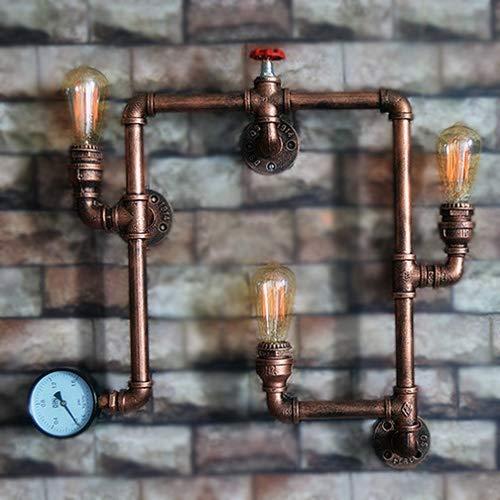 Rishx Vintage Industrial Retro 3-Lights Edison Wasserpfeife Wandleuchten Steampunk Rustikale Schmiedeeisen Wandleuchten Wandlampen Lampen für Scheune Garage Villa Flur Bar Cafe Beleuchtung Leuchte