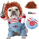 LINPING Deadly Doll Ropa para Perros, Disfraz de Perro Disfraces de Halloween para Mascotas para Perros Disfraz de Cosplay de Perro Ajustable (L)