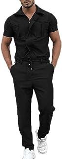 huateng Men's Casual Jumpsuit Short Sleeve One Piece Playsuit Outdoor Work Training Jumpsuit