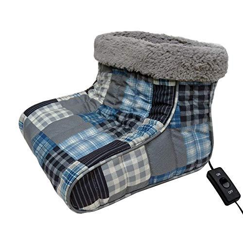 Thermee Micro Flannel Heated Foot Warmer, Ultramarine Plaid