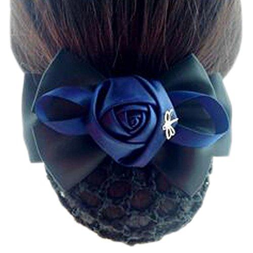 Fleur de dames, élastique, couvre-cheveux, cheveux, cheveux, Snood, Bowtie, mailles, 2 Bleu et Noir