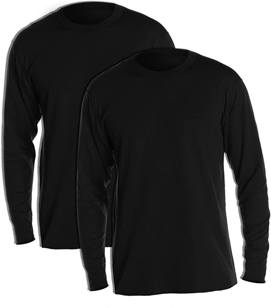 Duofold KMW1 Men's Midweight Thermal Crew Small Black (Pack of 2)