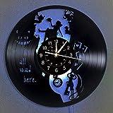 BFMBCHDJ Wanduhr LED Vinyl Schallplatte Wanduhr Leuchtende Wanduhr Home Decor Modernes Design...
