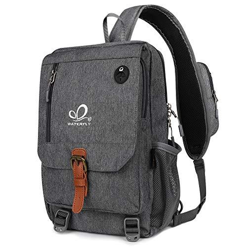 WATERFLY Schultertasche Sling Bag Crossbody Rucksack Damen und Herren für Reise Schule Arbeit Daypack