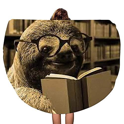 Mantón de Playa Sloth Libros de Lectura Caballero Grueso Redondo Toalla de Playa Manta Throw Mandala Microfiber Bohemian Circle Style Oversized Extra Large Yoga Mat Cubierta de Mesa