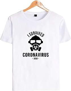 ユニセックスコロナTシャツCOVID-19コットン、リネン、私はパンデミックで2020、(XXS-XXXXL)生き残りました (Color : White, Size : XX...