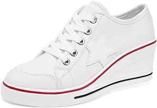 Femme Baskets Mode en Toile Talon Compensé Chaussures de Sport Fermeture Lacets Compensées Sneakers Tennis Casuel Toile Ch...
