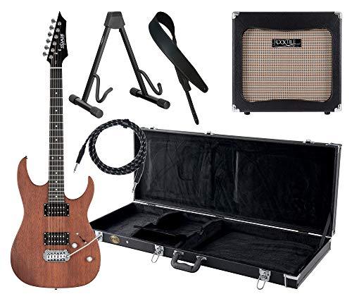 Shaman Element Series HX-100 WN Komplett Set - E-Gitarre - Modeling-Verstärker - Koffer - Ledergurt - Ständer - Kabel - Satin Walnut