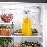 Wasserkaraffe ,BOQO1.5L Glaskaraffe, Wasserkrug mit Blütenblatt Edelstahldeckel Karaffen (Glaskanne) - 3