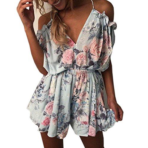 Woweal Damen Jumpsuits Boho Ärmellos Sommerkleid Strandkleid Playsuit Einteiler Casual Mini Schulterfreies Overall Kurz Hosen, XL, Blau