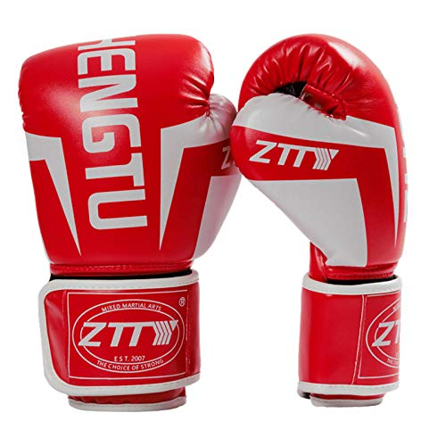 DDLL Professionelle Kinder Adult Boxhandschuhe MMA Taekwondo Kampf Sanda Handschuhe 08.06/10/12 / 14oz,Rot