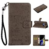 Amocase Strap Wallet Leather Case with 2 in 1 Stylus for Samsung Galaxy Note 9,Sweet 3D Cartoon Bee Flower Embossed Magnetic PU Leather Stand Shockproof Card Slot Soft Inner Case - Gray
