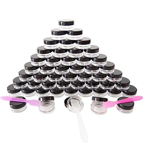 GreatforU 50 Stück Döschen, 5g Leere Probengläser, 5ml Klein Kosmetik Behälter mit Deckel für Kosmetikdose, Make-up, Lidschatten, Nägel, Proben, Lipgloss, Balsam, Badlotion, Gesichtscreme, Salben