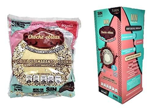 Mini Choke-Obleas Chocolate Wafer Cookies Turin Amaranth Wafers Filled with Chocolate Waffles 10 Snack Packs, Obleas de Amaranto Rellenas de Chocolate Turin sin Azucar 10 Snack Packs Galletas
