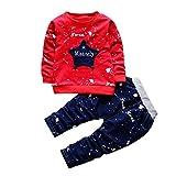 DAY8 Vetement Garcon Hiver Pas Cher Ensemble Garcon Manteau Enfant Garçon Pyjamas Bébé Garçon Printemps Chemise Blouse Manche Longue Haut Top Fille Sweat T-Shirt + Pantalon (110(2-3 Ans), Rouge)