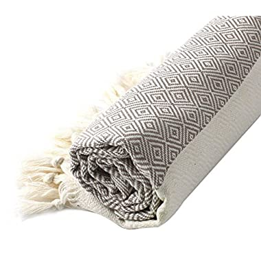 Cacala Turkish Cotton Diamond Weave Pestemal Bath Towel by Light Brown