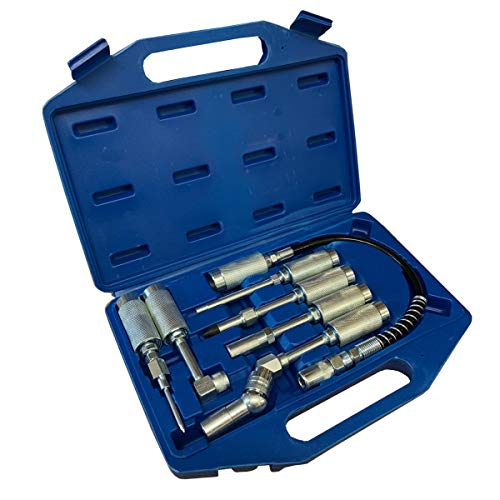 7pc Grease Gun Adaptor Set, Lube Nozzle Fittings in Storage Case - Fits...